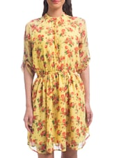 Yellow Polyester Floral Printed Three Quarter Sleeved Blouson Dress - By