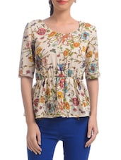 White Polyester Floral Printed Short Sleeved Peplum Top - By