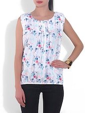 Multi-coloured Polyester Floral Printed Sleeveless Top - By
