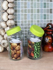 Lime Green Plastic Lid Glass Jars (Set Of 2) - By
