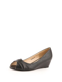Black Peep Toe Wedge Sandals - Solo Voga