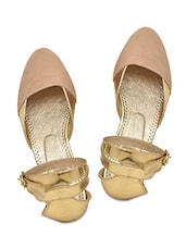Beige N Gold Faux Leather Ankle Strap Sandals - By