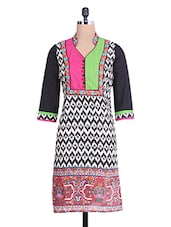 Black Cotton Embroidered Three Quarter Sleeved  Kurta - By