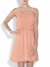 Peach Printed Polyester Dress - By