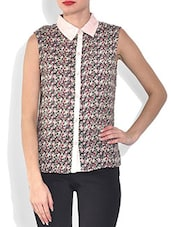 Multicolored Printed Sleeveless Cotton Top - By