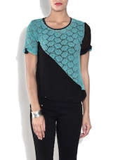 Black And Sky Blue Short Sleeved Net Top - By