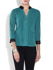 Teal Blue Poly Crepe Top With Notch Neck - By