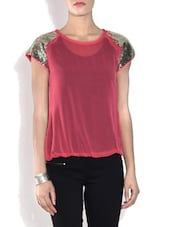 Rose Pink Short Sleeved Poly Crepe Top - By