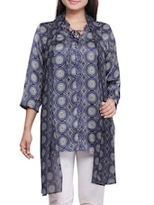Navy Blue Satin Printed Kurta - By
