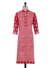 Red Striped Printed Cotton Kurti - By