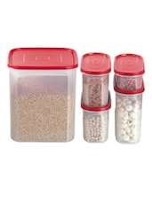 Red Storage Containers (set Of 5) - Primeway Elite