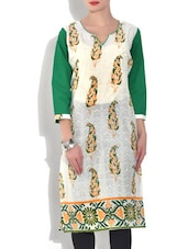 Off White Leaf Painted Cotton Kurta - By