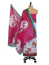 Contrasting Yoke Floral Print Unstitched Cotton Suit Set - Shree Ganesh