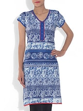 Blue And White Printed Cambric Kurta - By