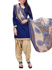 Navy Blue Suit Set With Printed Dupatta - By