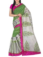 Printed Green And Grey Bhagalpuri Silk Saree - By
