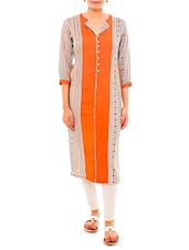 orange and white rayon printed kurti
