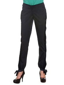 Navy Blue Poly Viscose Lycra Cuff Trousers