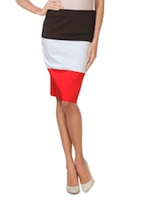 Multi Cotton, Satin And Lycra Striped Pencil Skirt - By