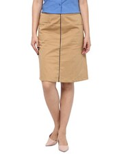 Beige Cotton Satin Lycra Skirt - By