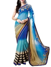 Blue Faux Georgette Embroidered Saree - By