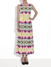 Multicolored Printed Poly Crepe Maxi Dress - By