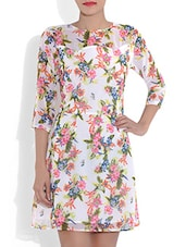 White Floral Printed Poly Crepe Dress - By