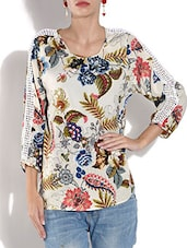 White Floral Printed Georgette Top - By