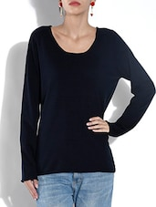 Black And Navy Blue Acrylic Pullover - By