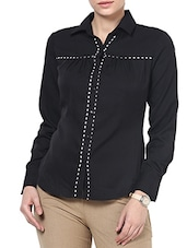 Black Poly Crepe Gathered Full Sleeve Formal Shirts - By