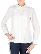White Cotton Full Sleeved Formal Shirt - By