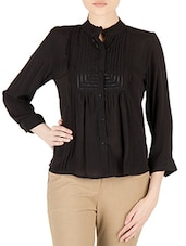 Black Polycrepe Full Sleeved Formal Shirt - By