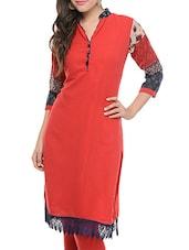 Red Georgette Kurta With Printed Sleeves - Jainish