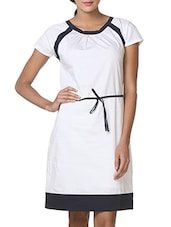 White Cotton Lycra Round Necked Dress - By