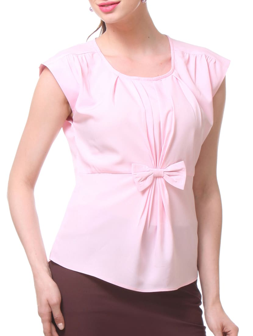 Pink Polycrepe Bow Top - By