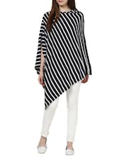 Black And White Striped Cape Poncho - Pluchi