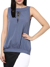 Grey Poly Crepe Sleeveless Top - By