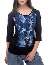 Black And Blue Viscose Jersey Printed Round Neck Top - By