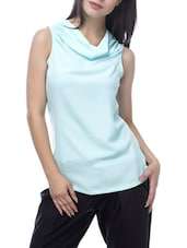 Blue Poly Crepe Sleeveless Top - By