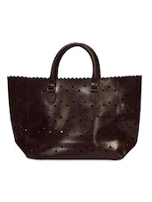 Dark Brown Faux Leather Handbag With Cutwork - By