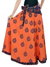 Orange And Blue Printed Long Skirt - 9rasa
