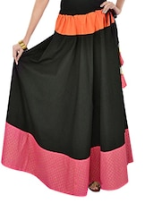 Black Printed Long Skirt - 9rasa