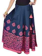 Blue And Pink  Printed Long Skirt - 9rasa