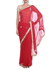 Red Sequined Georgette Saree With Gota Patti Work - By