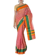 Pink Embellished Art Silk And Zari Saree - By