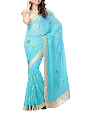Sky Blue Floral Georgette Saree - By