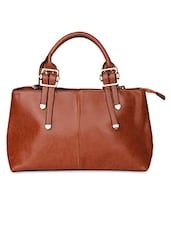 Brown Faux Leather  Hand Bag - By