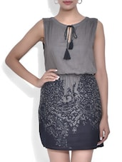 Grey Viscose Printed Dress - By
