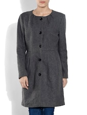 Grey Woollen Long Coat - By