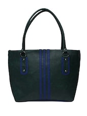 Green Faux Leather Handbag With Blue Piping - By